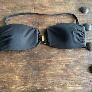 NWOT Victoria Secret black & gold clasp bikini top